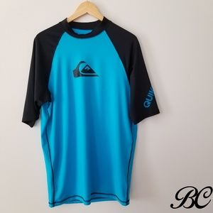 Quiksilver Shirt Rashguard T-Shirt Blue Black